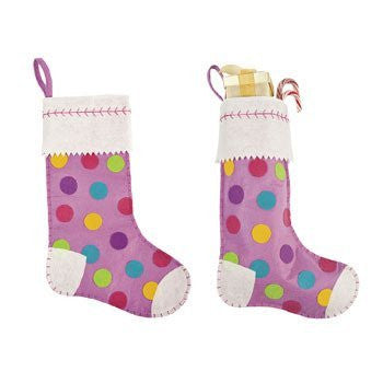 Girl's Polka Dot Stocking - Decorative Accessories