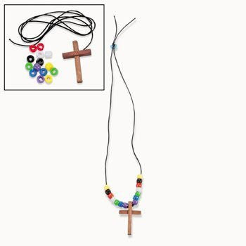12 Wooden Cross Faith Necklace Craft Kits