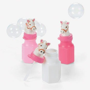 12 Pink Cowgirl Horse Bubbles Bottles Birthday Party Favors