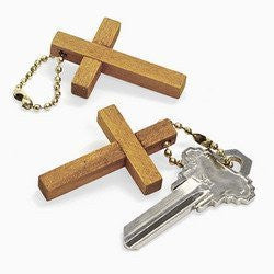 Wooden Cross Keychain (12 dozen) - Bulk [Toy]