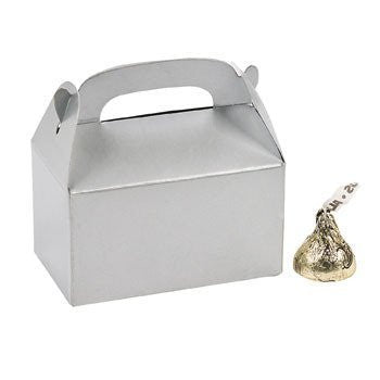 24 Mini Silver Treat Boxes - Party Favor & Goody Bags & Paper Goody Bags & Boxes