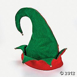 Set of 3 Felt Elf Hats With Jingle Bells