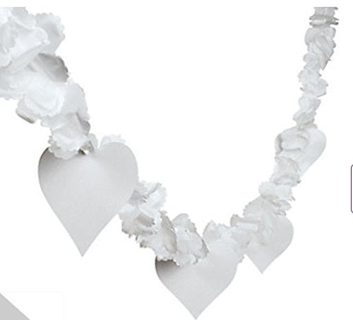 9 Ft White Flower and Heart Garland Wedding Shower Party Decorations