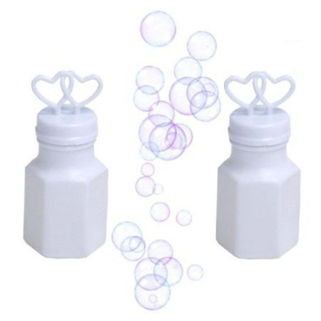 White Two Hearts Bubble Bottles - 24 Pieces - Wedding Decorations