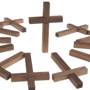 "Wholesale Craft Mini Wooden Hand Stained Easter Crosses 2"" X 3"" (Pack of 12)"