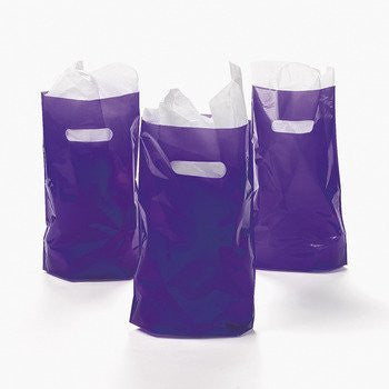 Purple Plastic Bags - Mardi Gras & Party Favors
