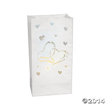 Package of Twenty Four Paper Two Hearts Luminary Bags/WEDDING/SHOWER/ENGAGEMENT