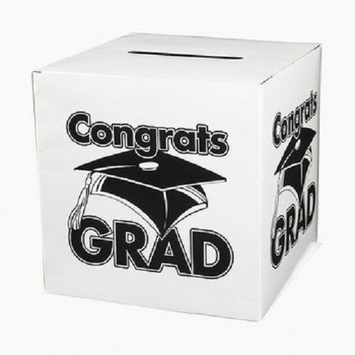 White Congrats Grad Money Gift Card Box Graduation Party