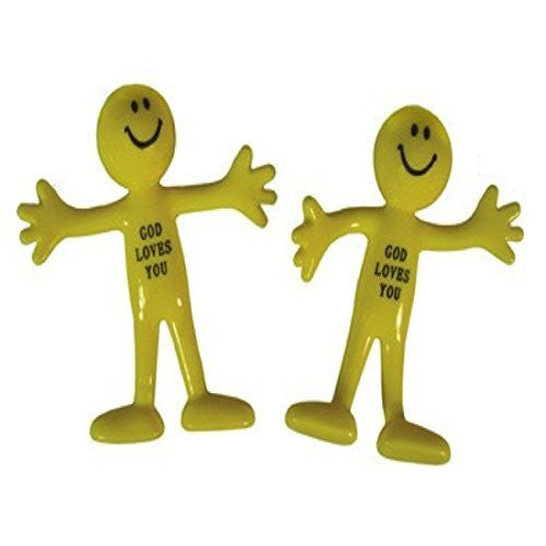 "Yellow 3"" Smile God Loves You Bendable Action Figures Party Favor - 24 Pack"