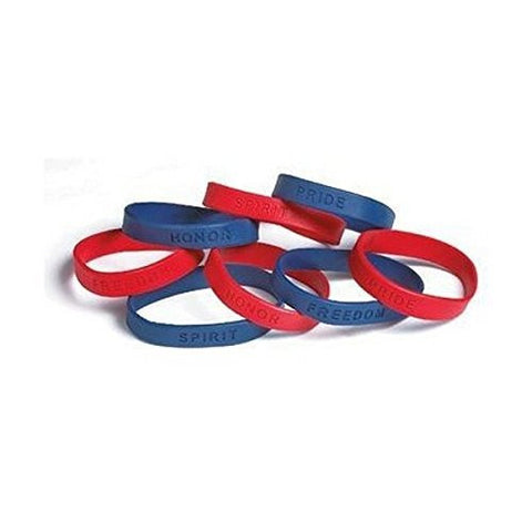 "8"" Red Blue Patriotic Sayings Bracelets ( 24 Piece per Unit)"