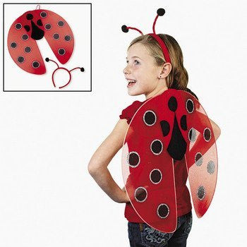 Nylon Ladybug Wings and Antennae Headband