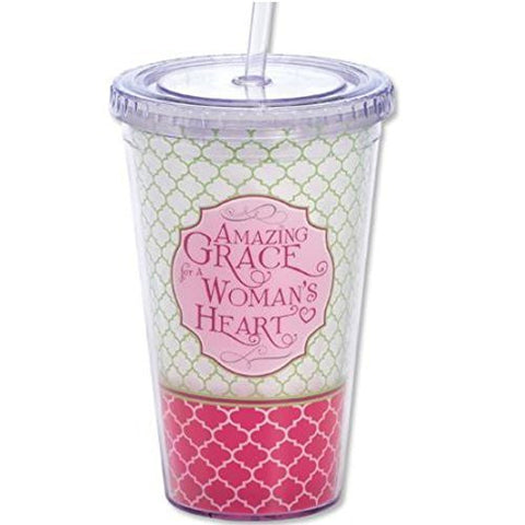 Amazing Grace for a Woman's Heart Insulated Double Walled Cup & Straw