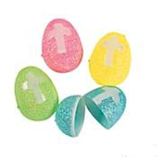 Plastic Glitter Cross Easter Eggs