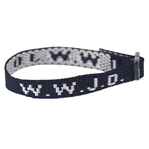 Dark Blue Woven WWJD Cloth Bracelet