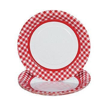 Red Gingham Dinner Plates - Housewares