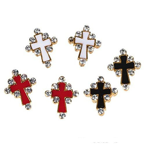Inpsirational Epoxy Cross And Faux Diamond Earrings (1 Dozen Pairs)