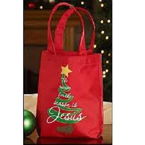The Reason for the Season Printed Tote Bag Polyester Wx HChristian Brands Gift Pack of 12