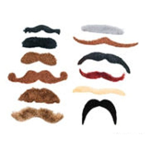 Synthetic Large Mustache Assortment (12 Pieces)