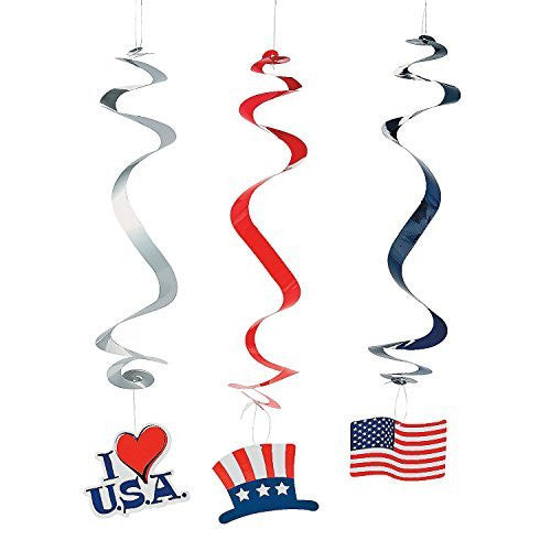 Set of 12 Patriotic Icon Hanging Swirls