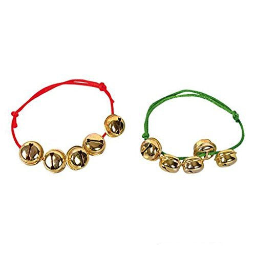 Christmas Red And Green Jingle Bell Rope Bracelets (6 Pack)