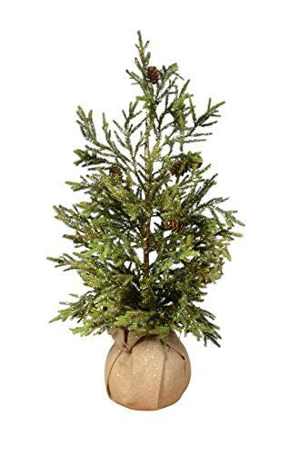 24 Inch Tabletop Christmas Mixed Pine Tree in Burlap Base with Pinecones