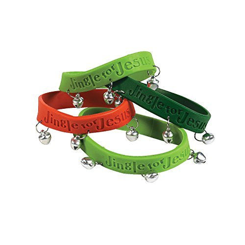 24 Christmas Rubber Jingle For Jesus Bracelets With Bells