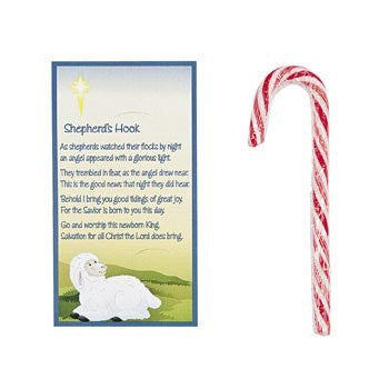 Shepherd's Hook Candy Canes With Card - Religious Christmas Supplies & Candy