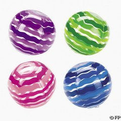 12 Inflatable Striped Beach Balls
