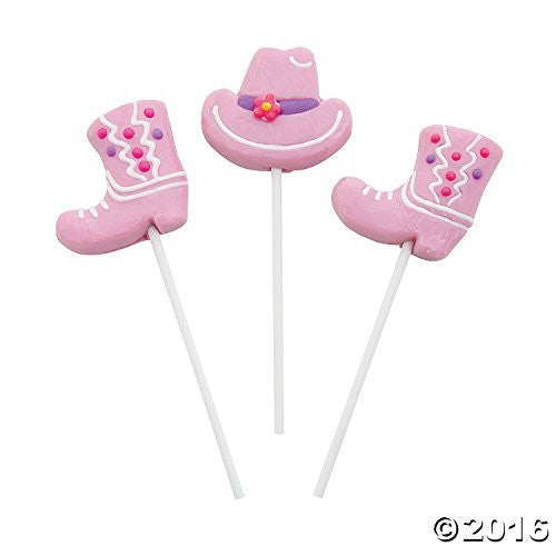 Pink Cowgirl Hats & Boots Frosted Suckers (12 Pack)