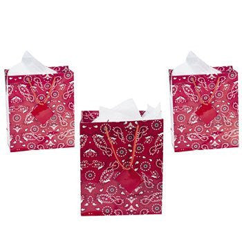 Medium Red Bandanna Gift Bags - Theme Parties & Western
