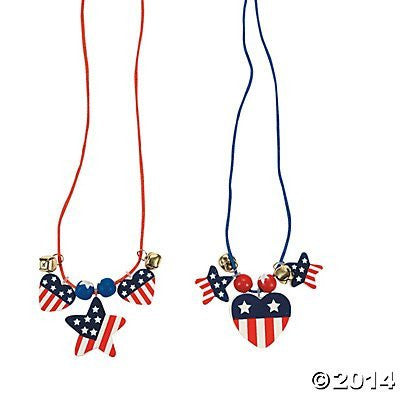 Fourth of July-Patriotic Wood Necklace Craft Kit (12 Count) 4th of July