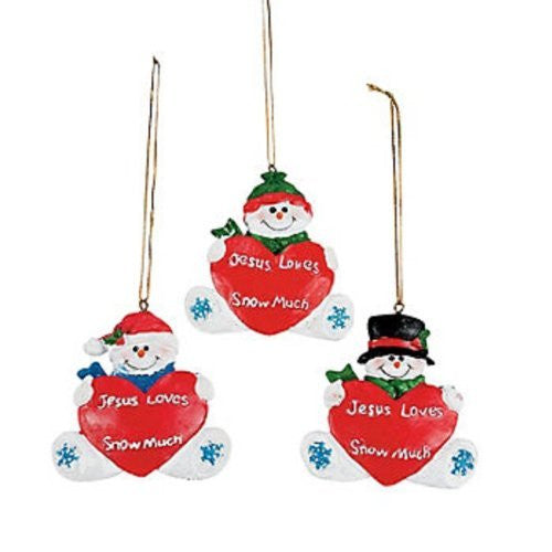 "Resin ""Jesus Loves You Snow Much"" Ornaments (12 Pack)"