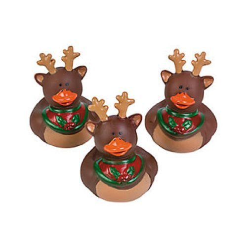 Vinyl Holiday Christmas Reindeer Rubber Duckies (9 Ducks)