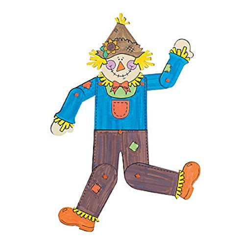 Dozen Color Your Own Jointed Scarecrows