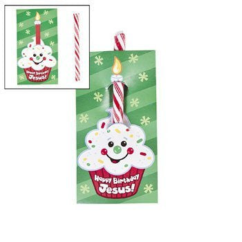 Happy Birthday Jesus! Candy Cane On Card - Religious Christmas Supplies & Candy