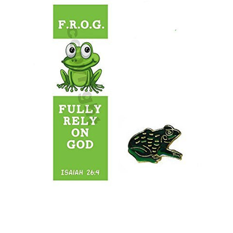 Fully Rely On God F.R.O.G. Bookmark With Frog Lapel Pin Gift Set