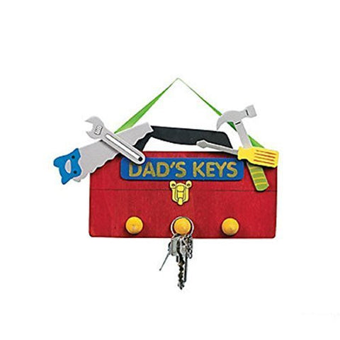 "12 Red 8"" Wooden Dad's Keys Key Holder Craft Kit"