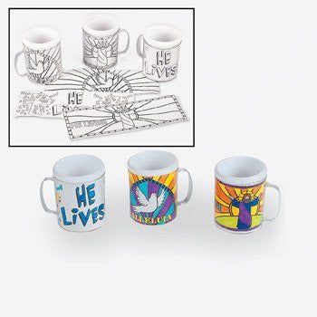 Color Your Own Easter Inspirational Mugs - Sunday School & Party Supplies