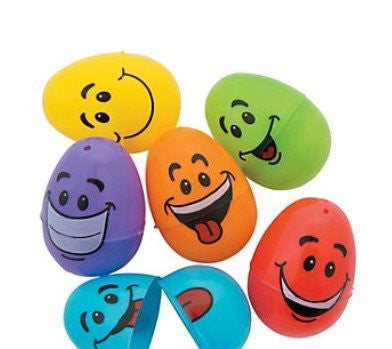 Deluxe 72 Pc. Goofy Smiley Faced Children's Easter Egg Hunt Plastic Eggs