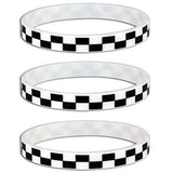 Silicone Black White Checkered Flag Racing Wristband Bracelets (12 Pack)