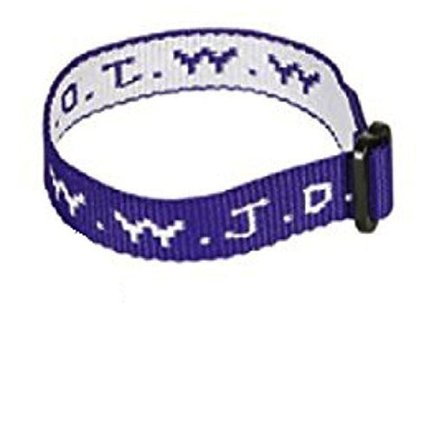Purple Woven WWJD Cloth Bracelet