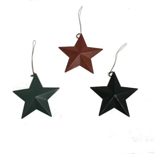 Set of 12 Rustic Tin Barn Star Ornaments in Red, Green and Blue