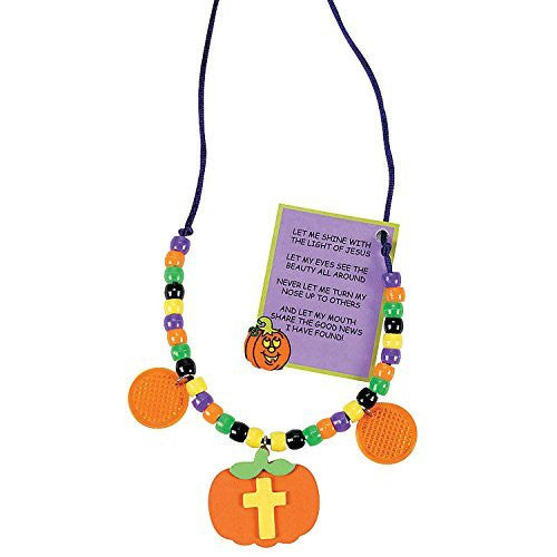 Christian Halloween Pumpkin Beaded Reflector Necklace Craft Kit