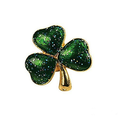 Metal Glitter Shamrock Pin
