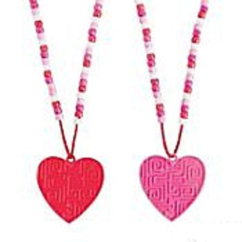 Valentine Heart Maze Beaded Puzzle Necklaces - 12 pack
