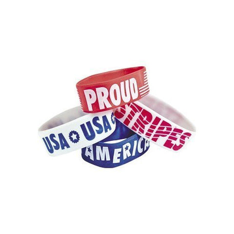 12 Patriotic Big Wrist Bands