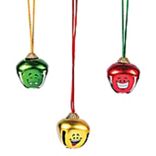 Jumbo Metal Funny Face Jingle Bell Necklaces - 12 Pack