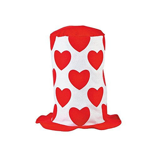 Funky Valentine's Day Stovepipe Hat With Red Hearts