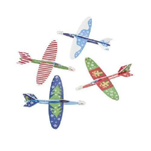 Foam Mini Christmas Holiday Airplane Gliders (48 Pack)