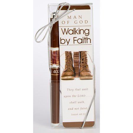 Man of God Walking By Faith Pen and Bookmark Gift Set